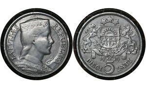 5 Lati 1929 Latvia 🇱🇻Silver Coin Maiden's Head  # 9 From 1$