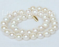 """natural 17"""" 12mm white round freshwater pearls necklace 14K j10478"""