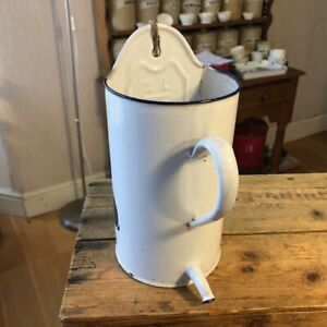Vintage White Enamel Water Dispenser / Holder – Kitchenalia – Utensil Pot? –