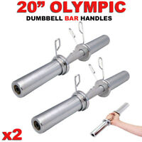 "Olympic Dumbbell 20"" Weight Bar Solid Steel Strength Weight Training Barbell x2"