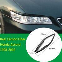 2×Real Carbon Fiber Headlight Eyelid Eyebrow Trim Fit For Honda Accord 1998-2002