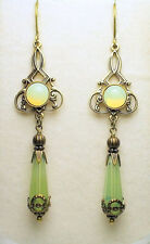 Art Nouveau Edwardian Style Vintage Brass Czech Opal Glass Earrings