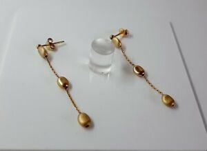 9ct Yellow Gold Long Drop Earrings. Butterfly Backs. 42mm Long. 1.9 Grammes.