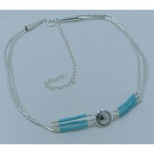 PETITE 3 Strand Sterling Silver Kingman Turquoise Concho Heshei Necklace