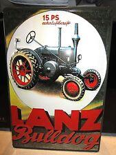 LANZ BULLDOG 15PS TRACTOR :EMBOSSED(3D) METAL ADVERTISING SIGN 30X20cm GERMAN