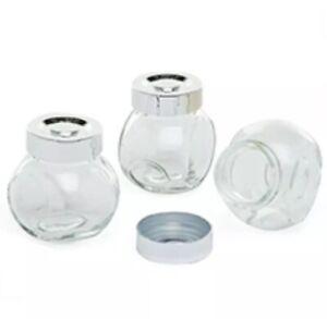 3PC MINI GLASS SPICE JAR SET SALT PEPPER HERBS KITCHEN CONTAINER BOTTLES BNIB