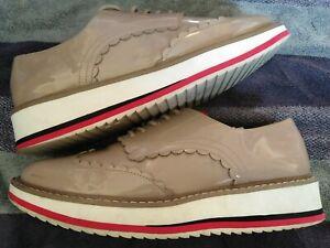 Ladies, Zara, Beige, Patent Leather, Platform, Brogues size 6(39)