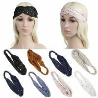 Sequins Hairband Twisted Knot Headband Stretchy Turban Polka Dots Headwear