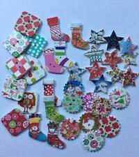 BB PRINTED CHRISTMAS SHAPED BUTTONS pack of 25 wood xmas craft sewing