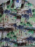 Vintage Print 80s Hawaiian Shirt Silky Rayon sz L md in U.S.A. Ocean Pacific GUC