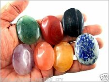 Jet Fantastic Chakra Gemstone 7 Oval Stone Set Palm Worry Stone Thumb Stone In