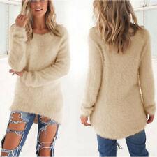 Women's Warm Jumper Tops Velvet Fluffy Sweater Blouse Loose Casual Knit Pullover Beige 22