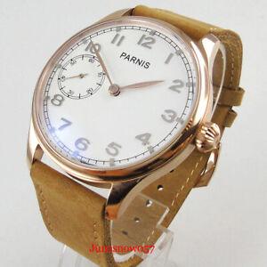 PARNIS Mechanical Men Watch 6497 Rose Gold Case Glass Back Pumpkin Crown