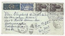 1939 Vosges France Clipper Airmail to LA Redirected to Hearst Ranch, Pair 10Fr