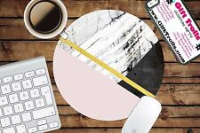Pink Marble Geo Print Circle Mouse Pad - Mousepad - CoWorker Teacher Gift