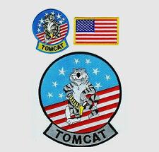 "TOMCAT F-14 3-INSIGNIA (1x7.50"" + 2x4"") for THE BACK OF G-1 PILOT FLIGHT JACKET"