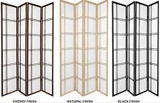 3 & 4 Panel Shoji Screen Room Dividers Black, Cherry, Espresso or Natural Color