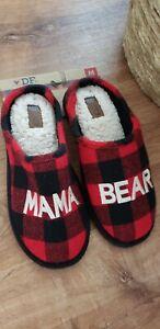 "NEW Dearfoams ""Mama Bear"" Women's Clog Slippers Red/Black Plaid Faux Fur Lined M"