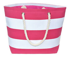 Nautical Striped Canvas Tote Beach Shoulder Bag Grocery Pool Purse Pink White