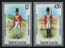 St. Lucia 1989 - Mi-Nr. 886 III & 889 III ** - MNH - Uniformen / Uniforms
