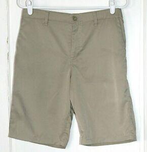 "UNDER ARMOUR dark khaki stretch longer length ""loose"" golf shorts boy's size 18"