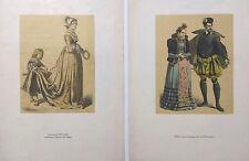 Costumes NOBLESSE FRANCE, 2 gravures en couleur