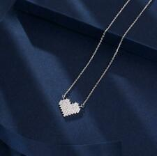 Silve Love Heart Pave Cubic Zirconia White Gold Pendant Necklace