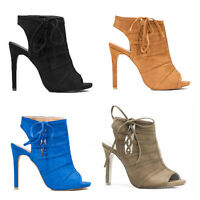WOMENS HIGH HEEL PEEP TOE CUT OUT ANKLE BOOTS SANDALS LADIES SHOES SIZE 2-7