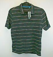 Perry Ellis Short Sleeve Men's X-Large Polo Shirt Black Gray Stripe NWT