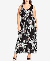 City Chic Women's Plus Floral Drawstring Waist Sleeveless Maxi Dress Size 14W