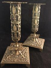 Paire de Bougeoirs Bronze Royaliste Renaissance Fleur de Lys Putti Candlestick