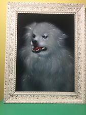 Vtg Black Velvet Painting Portrait Dog Japanese Spitz Framed Art Mid Century