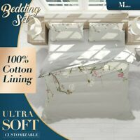Magnolia Blossom Chinoiserie Grey Quilt Cover Single Bed Double Queen King Size