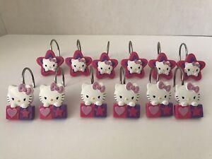 Sanrio Set Of 12 Hello Kitty Hearts And Stars Shower Hooks Nice Used