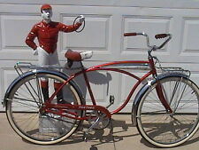 RED SCHWINN 1970 PANTHER BIKE-DELUXE HORN TANK-SHINY CHROME FENDERS-2 RACKS-