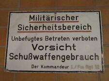 """Orig.Schild """" Militärischer Sicherheitsbereich """" I./ Fm Rgt 12 Karlsruhe Neureut"""