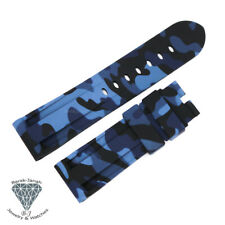 24mm Military Camo Blue Black Rubber Straps Band For Panerai PAM Watches + Tools