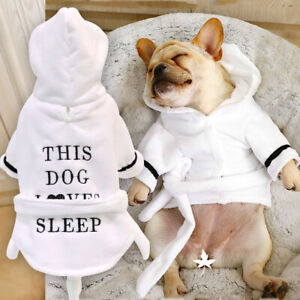 French Bulldog Clothes Dog Pajamas Hoodie Bathrobe Puppy Pet Thickened Nightgown