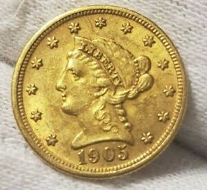 1905 gold liberty quarter eagle. High grade!