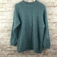 Esprit Womens Vintage Wool Mohair Cable Sweater Size S Oversized Green Seafoam