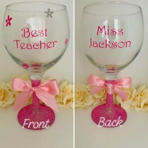 Personalised Gin Glass - Any Name - Any Colour - Teacher Gift