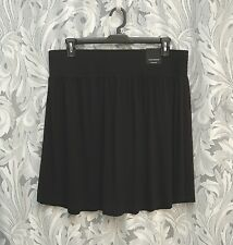 LANE BRYANT BLACK STRETCH KNIT PULL-UP GATHERED KNEE LENGTH SKIRT~22~24~2X~3X~NW