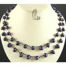 AU SELLER Handmade Knotted Burgundy Genuine Pearls Necklace 010698