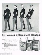 PUBLICITE ADVERTISING 105  1956  CAMEL CAVALIER & WINSTON cigarettes par LORELLE