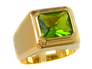 14K Yellow Gold Over 11 x 9 mm August Birthstone Peridot Men's Solitaire Ring