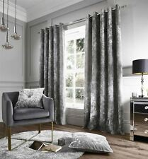 "CRUSHED VELVET SILVER 66"" X 90"" RING TOP CURTAINS DRAPES 2 X 22"" FILLED CUSHIONS"