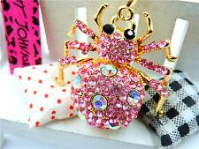 Betsey Johnson Women Jewelry Rhinestone Spider Pendant Sweater Chain