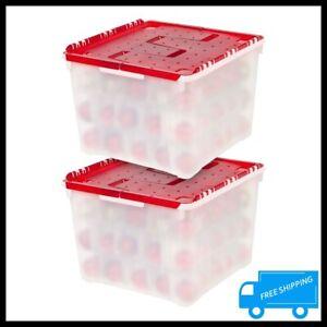 Christmas Ornament Storage Box 75 Ball Organizer Container Holiday Decor Bin 2PK