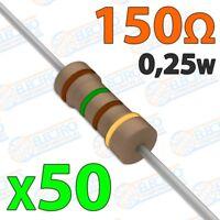 Resistencia 150 ohm 0,25w ±5% 300v - Lote 50 unidades - Arduino Electronica DIY