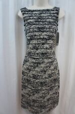 Adrianna Papell Dress Sz 4 Black Ivory Banded Mesh Casual Evening Cocktail Dress
